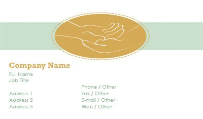 White and Green Hand in Hand Business Card Template